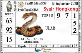 Syair HK Mbah Sukro 16 September 2020