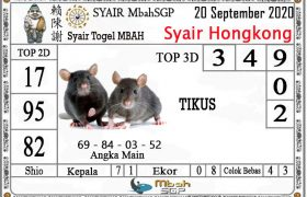 Syair HK Mbah Sukro 20 September 2020