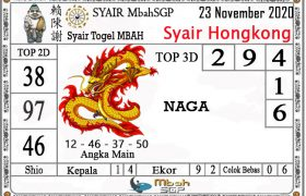Syair HK Mbah Sukro 23 November 2020