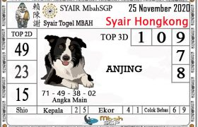 Syair HK Mbah Sukro 25 November 2020