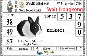 Syair HK Mbah Sukro 27 November 2020