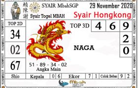 Syair HK Mbah Sukro 29 November 2020