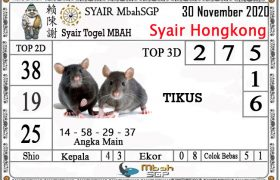 Syair HK Mbah Sukro 30 November 2020